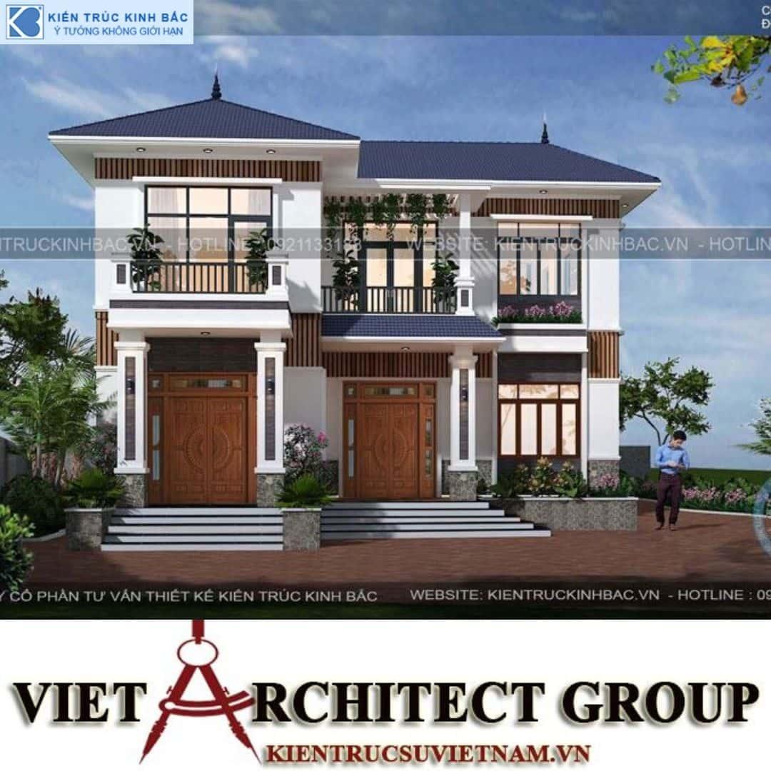 3 22 - Công trình Thiết kế biệt thự 2 tầng mái thái anh Vinh - Hải Dương