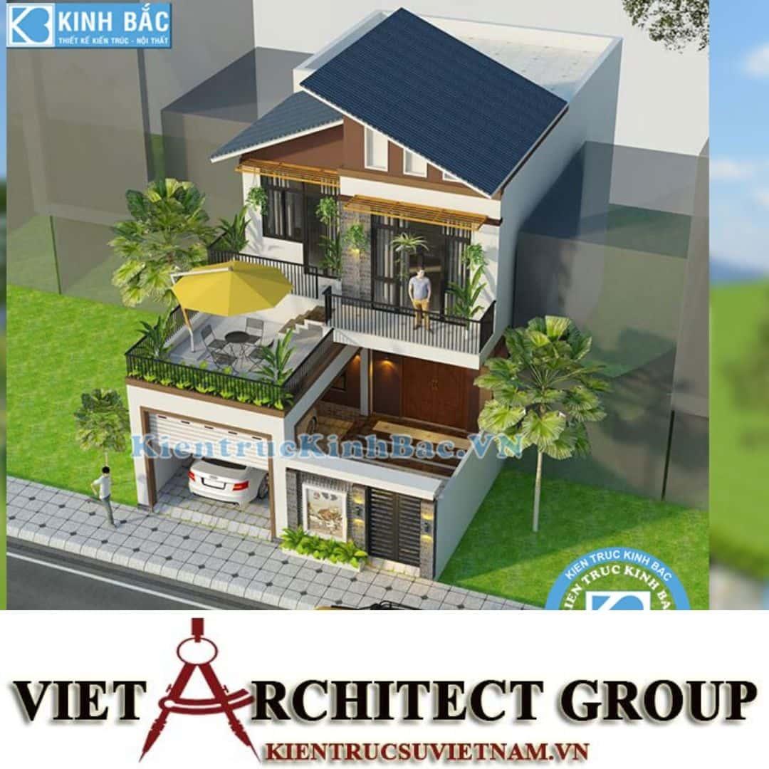 3 39 - Công trình thiết kế biệt thự 2 tầng mái lệch chị Trang - Nghệ An