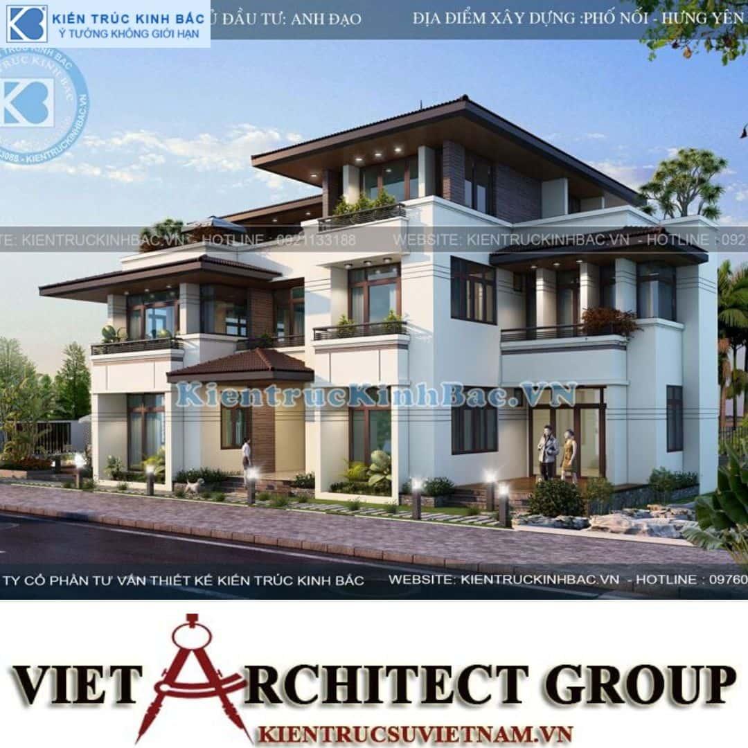 3 4 - Công trình biệt thự 3 tầng mặt tiền 20m kiến trúc hiện đại ở Phố Nối - Hưng Yên