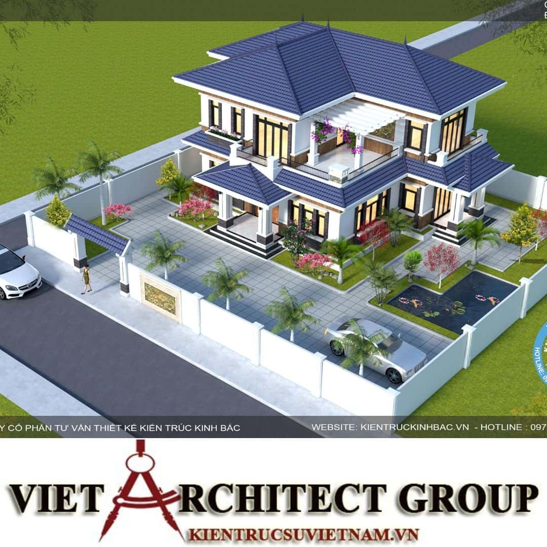 3 45 - Thiết kế biệt thự 2 tầng mái thái đẹp và chuyên nghiệp