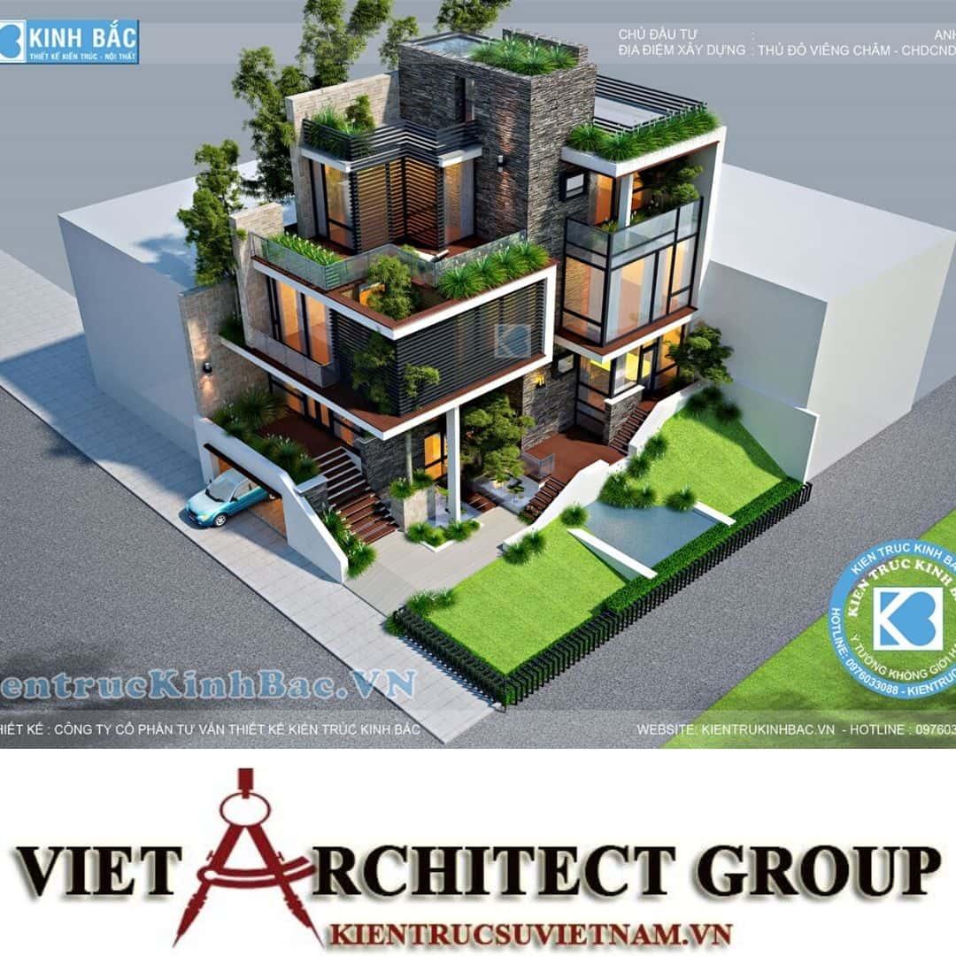 3 5 - Công trình biệt thự 3 tầng hiện đại anh Hải - Viên Chăn, Lào