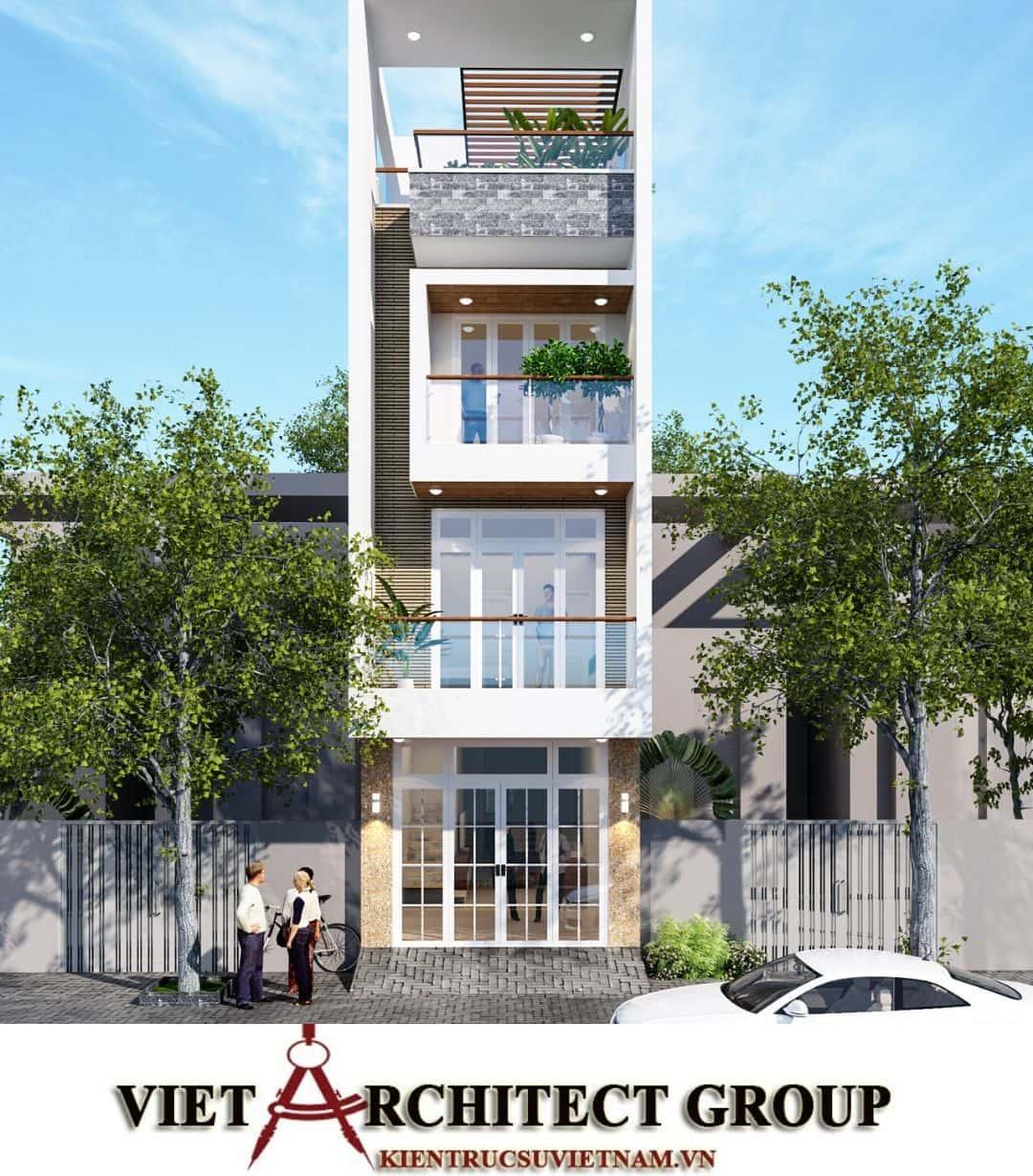 3 55 - Công trình nhà phố mặt tiền 4m 1 trệt 2 lầu sân thượng chị Hải - Thủ Đức
