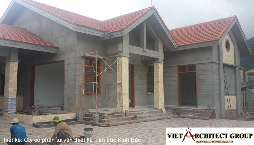 3 - Công trình thiết kế biệt thự 1 tầng mái thái a Tuấn - Lai Châu