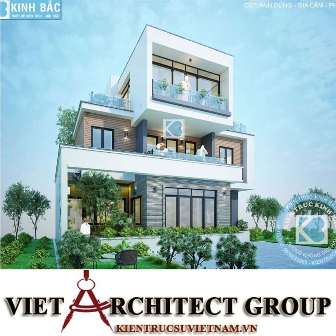 4 19 - Công trình Thiết kế biệt thự 3 tầng hiện đại anh Dũng - Phú Thọ