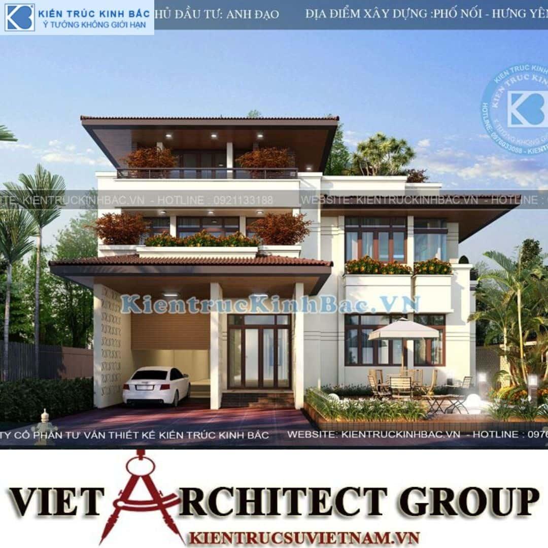 4 4 - Công trình biệt thự 3 tầng mặt tiền 20m kiến trúc hiện đại ở Phố Nối - Hưng Yên
