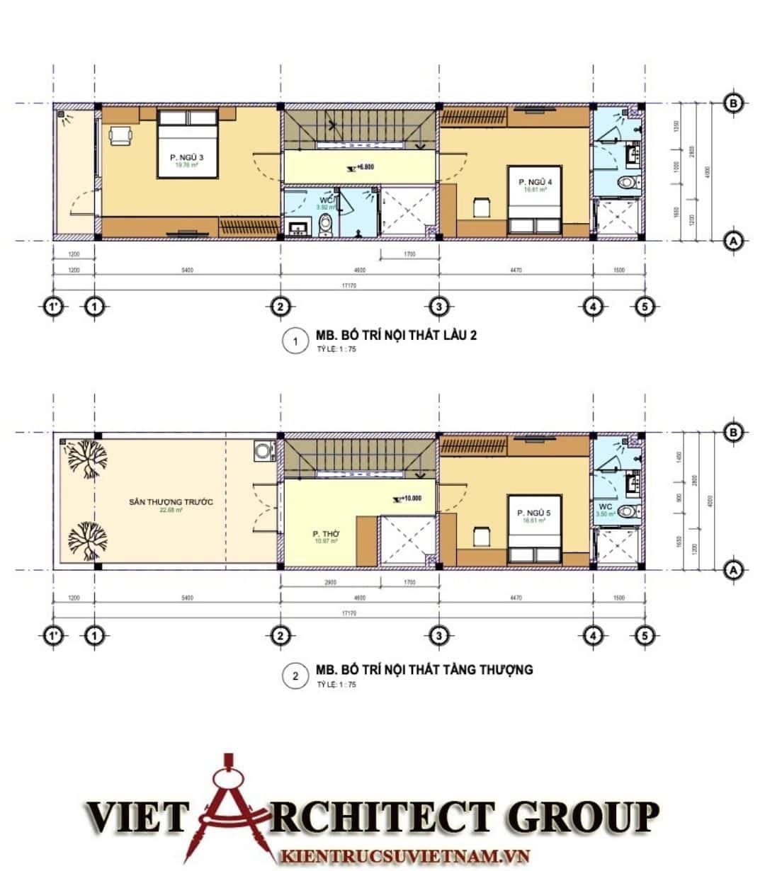 4 43 - Công trình nhà phố mặt tiền 4m 1 trệt 2 lầu sân thượng chị Hải - Thủ Đức