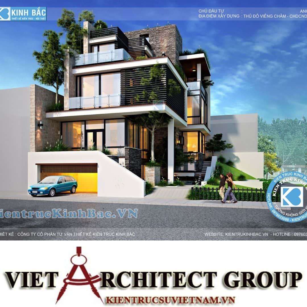 4 5 - Công trình biệt thự 3 tầng hiện đại anh Hải - Viên Chăn, Lào