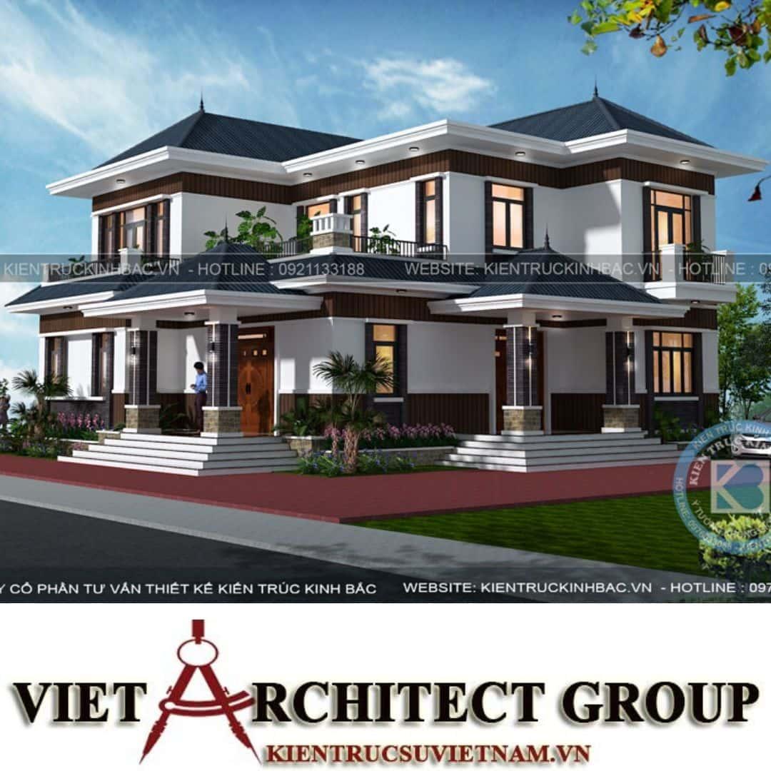 5 14 - Công trình thiết kế biệt thự 2 tầng hiện đại anh Chinh - Bắc Giang