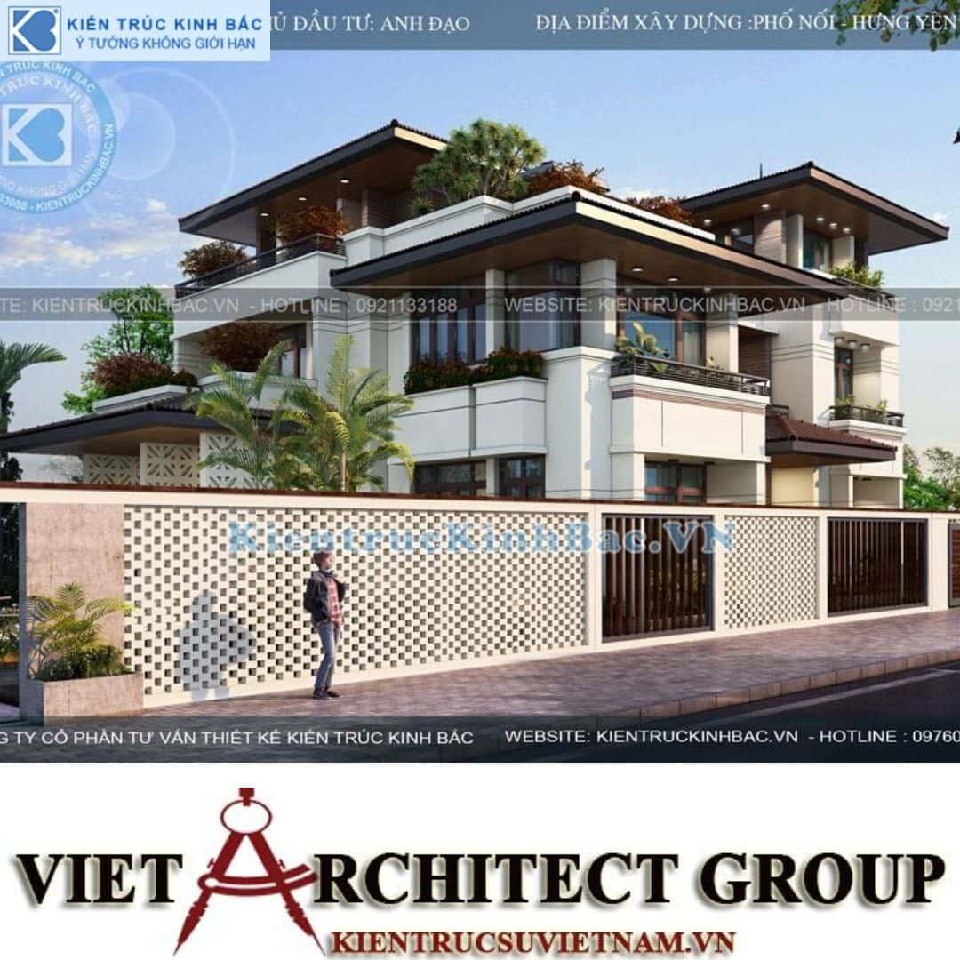 5 2 - Công trình biệt thự 3 tầng mặt tiền 20m kiến trúc hiện đại ở Phố Nối - Hưng Yên