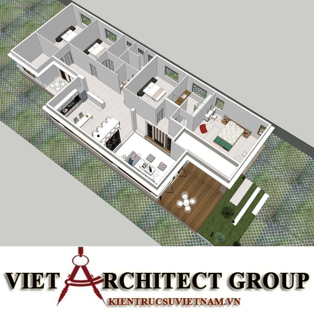 5 29 - Công trình nhà ở 1 tầng mái thái 3 phòng ngủ chị Dung - Nhơn Trạch, Đồng Nai