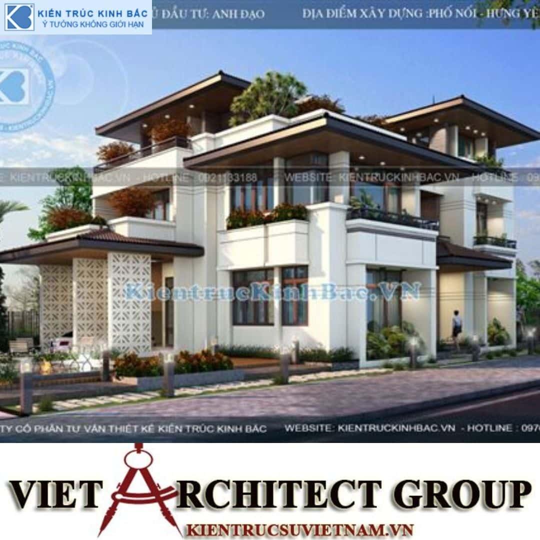 6 1 - Công trình biệt thự 3 tầng mặt tiền 20m kiến trúc hiện đại ở Phố Nối - Hưng Yên