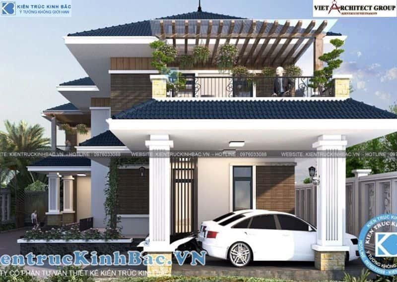 6 5 - Công trình thiết kế biệt thự 2 tầng mái thái anh Cảnh - Hoà Bình