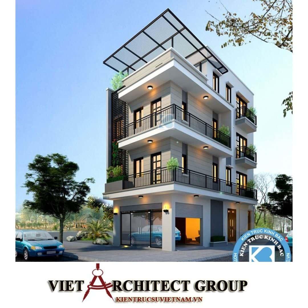 6 9 1 - Công trình nhà phố lô góc 2 mặt tiền 6m 4 tầng anh Hoàng - Sơn Tây