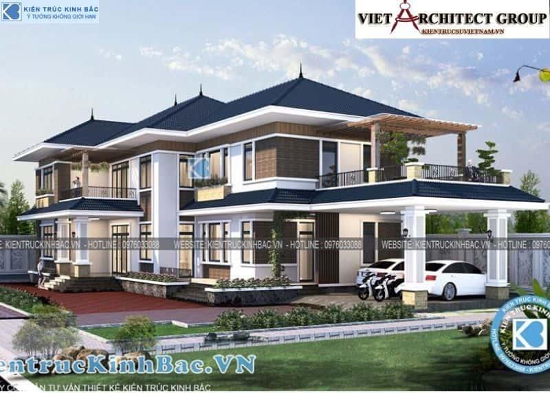 7 2 - Công trình thiết kế biệt thự 2 tầng mái thái anh Cảnh - Hoà Bình