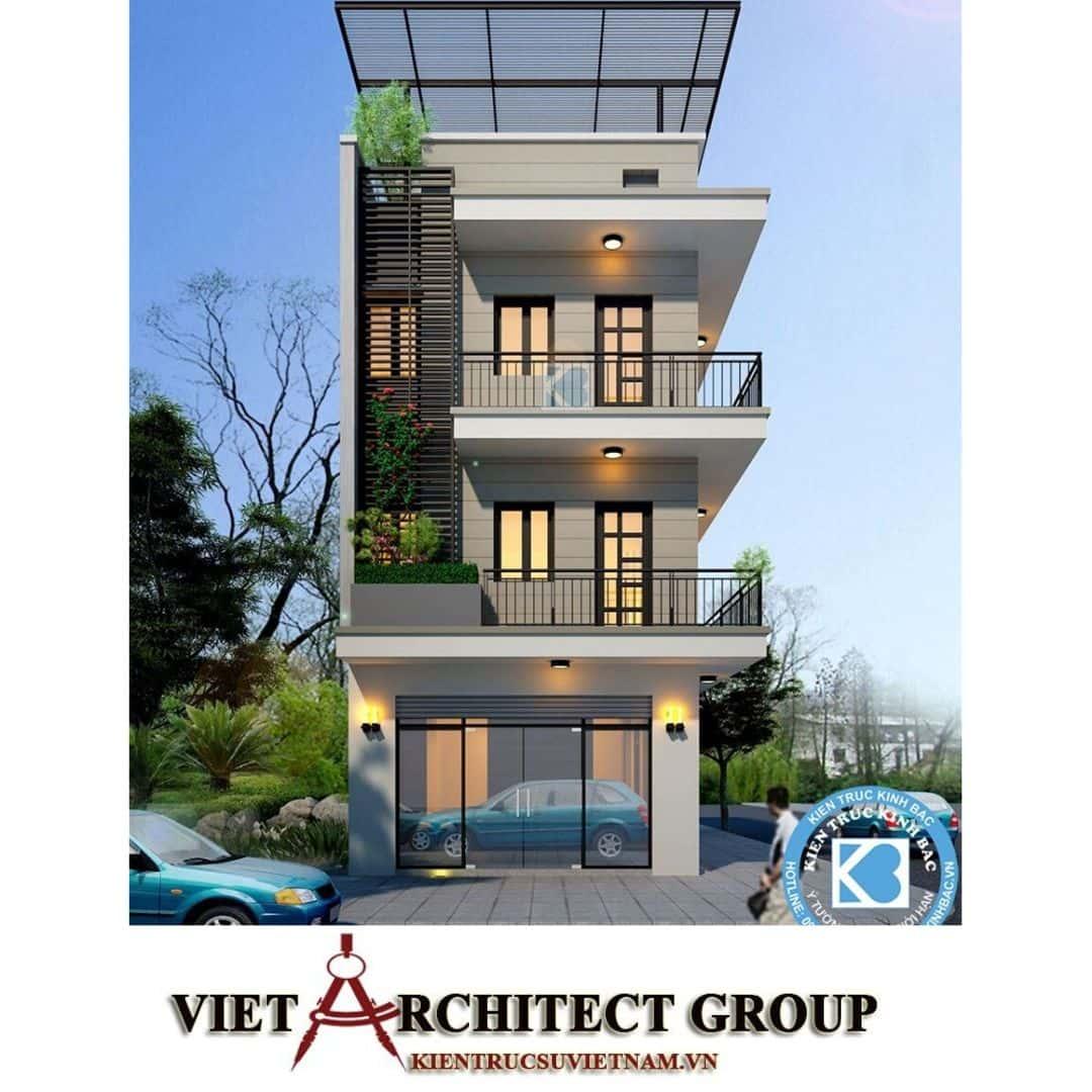 7 6 1 - Công trình nhà phố lô góc 2 mặt tiền 6m 4 tầng anh Hoàng - Sơn Tây