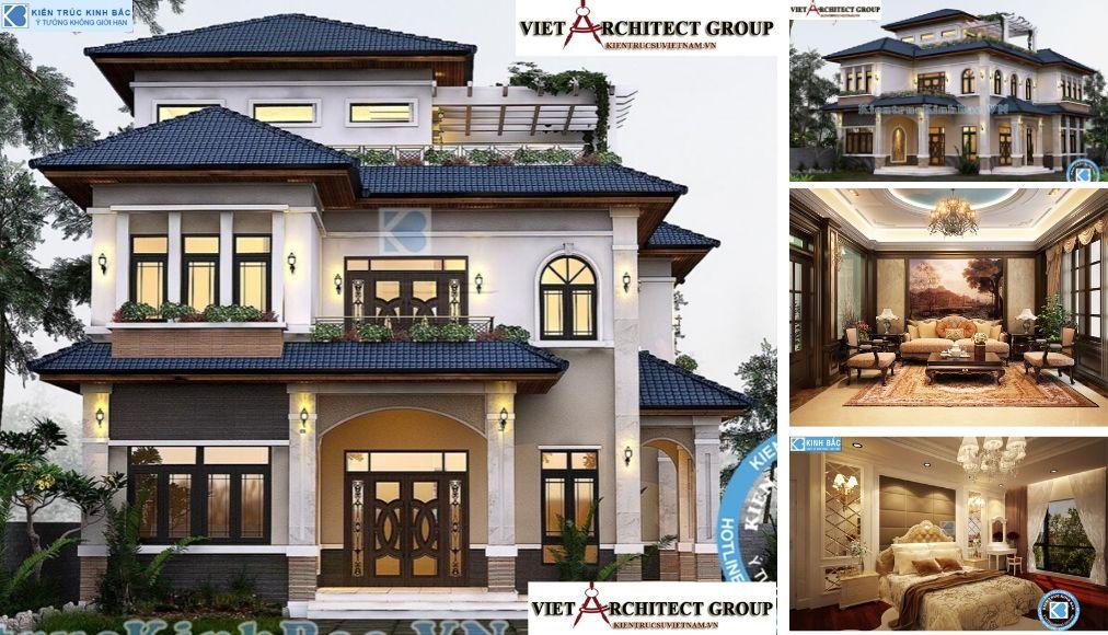 Thiết kế không tên 11 - Công trình thiết kế biệt thự tân cổ điển 3 tầng tại Hà Nội