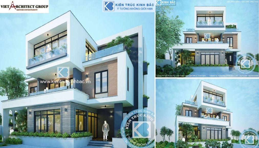 Thiết kế không tên 16 - Công trình Thiết kế biệt thự 3 tầng hiện đại anh Dũng - Phú Thọ