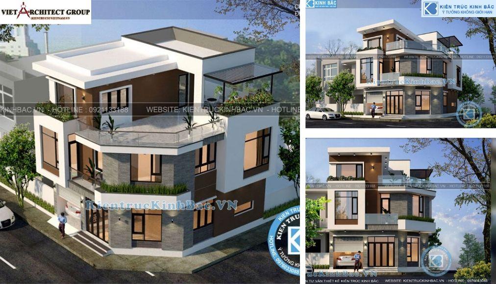 Thiết kế không tên 18 - Công trình biệt thự 3 tầng lô góc 2 mặt tiền tại anh Liên - Phú Thọ