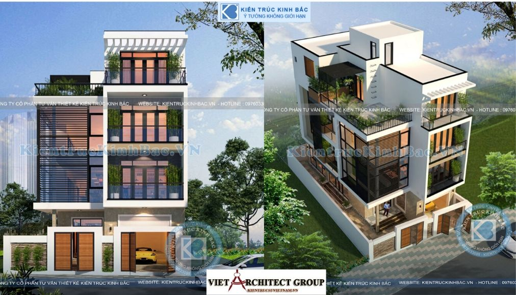 Thiết kế không tên 2 - Công trình biệt thự hiện đại 4 tầng mặt tiền 7.5m ở Hưng Yên