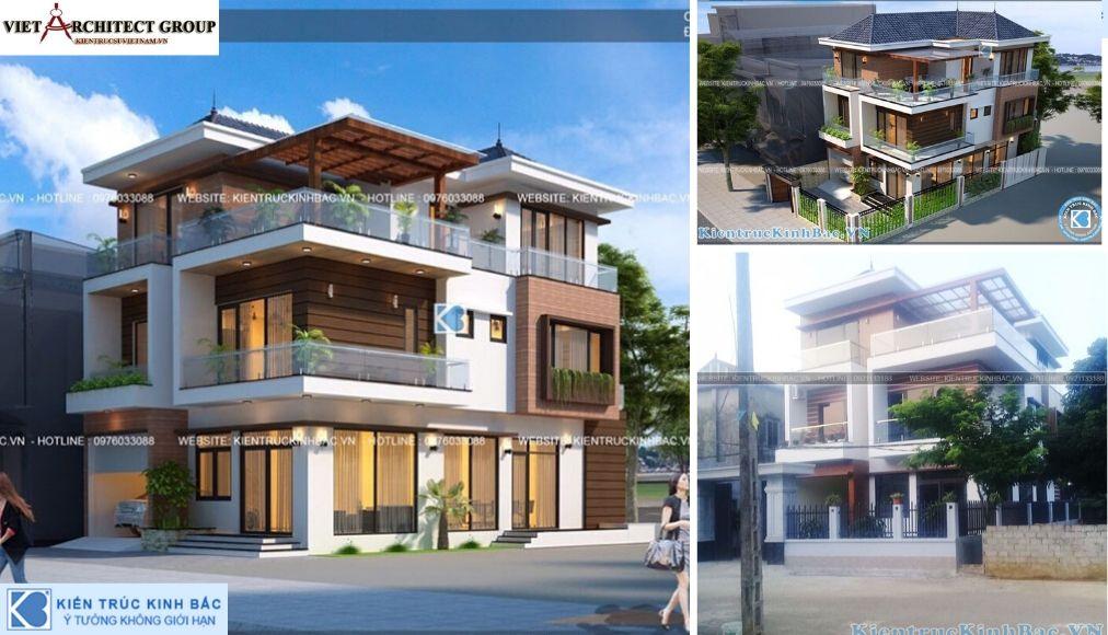 Thiết kế không tên 20 - Công trình thiết kế biệt thự 3 tầng hiện đại anh Tá - Hà Nội