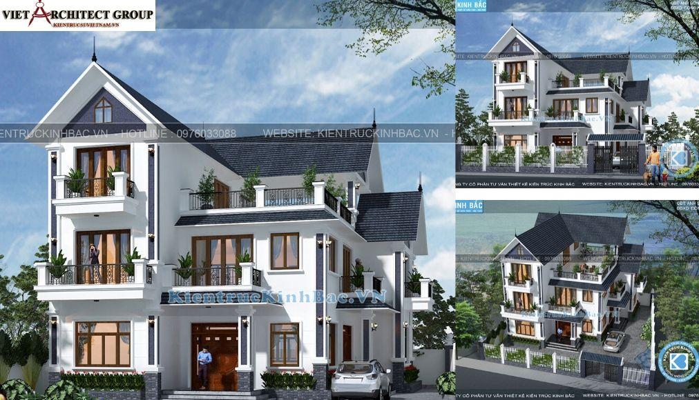Thiết kế không tên 25 - Công trình thiết kế biệt thự tân cổ điển 3 tầng anh Sơn - Hà Nội