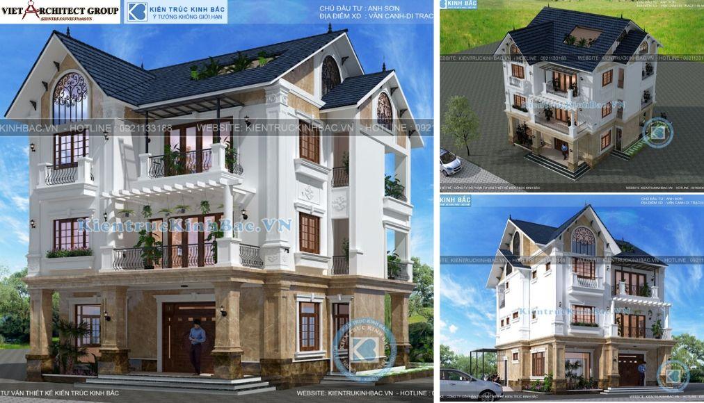 Thiết kế không tên 8 - Công trình biệt thự tân cổ điển 3 tầng anh Sơn - Hà Nội