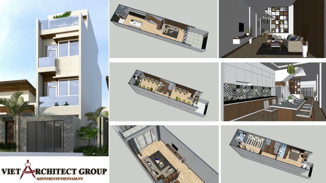 nhà phố 4 tầng đẹp 1 - Công trình nhà ở 4 tầng mặt tiền 4.5m anh Tuấn - TPHCM