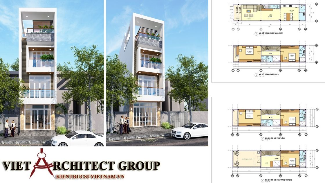 nhà phố 4 tầng đẹp - Công trình nhà phố mặt tiền 4m 1 trệt 2 lầu sân thượng chị Hải - Thủ Đức