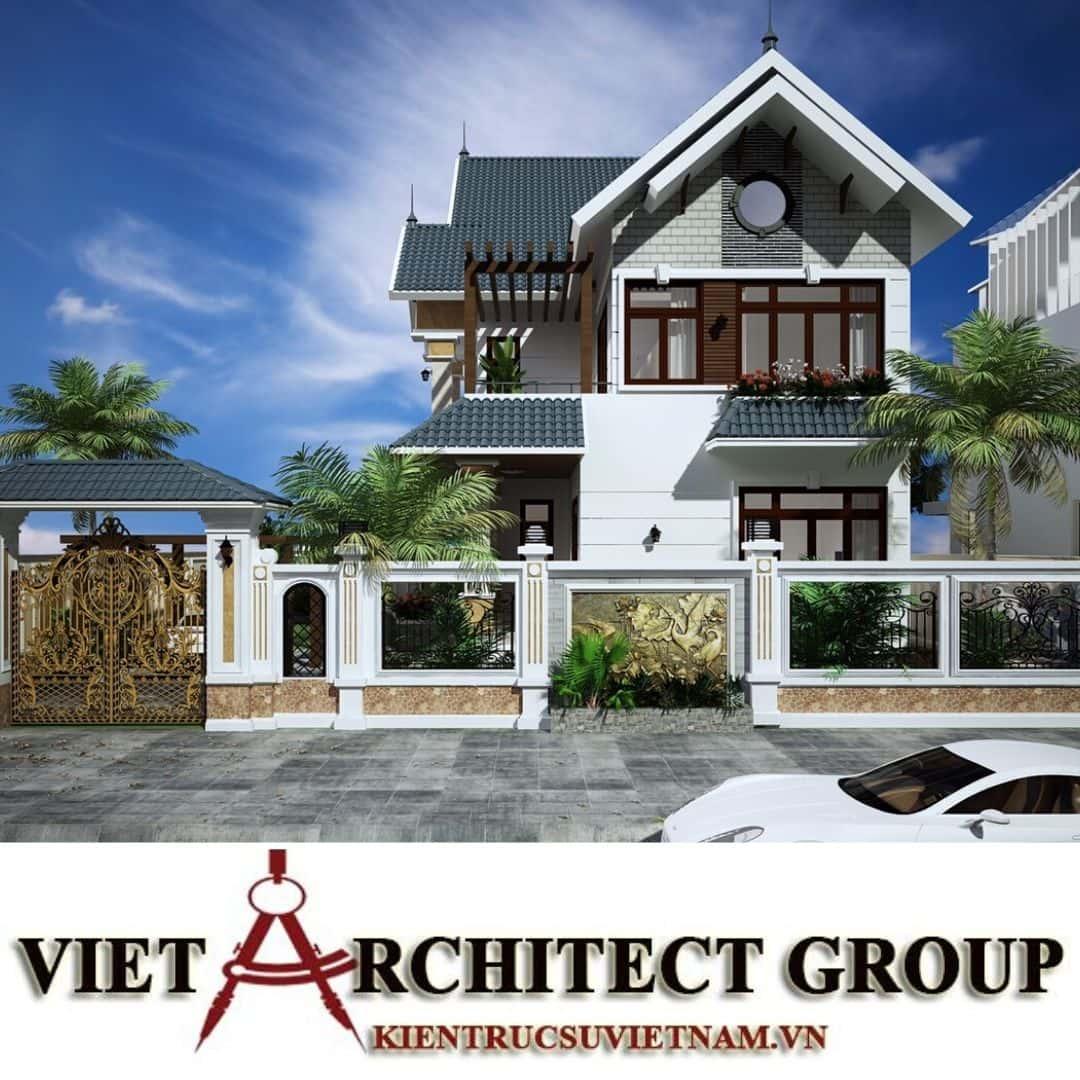 1 1 - Công trình thiết kế biệt thự 2 tầng mái thái lô góc đẹp mr Thái Nhơn Trạch