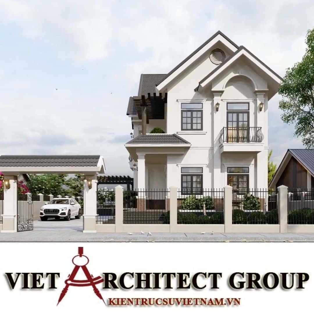 1 3 - Công trình thiết kế biệt thự 2 tầng kiến trúc tân cổ điển mái thái đẹp Nhơn Trạch - Đồng Nai