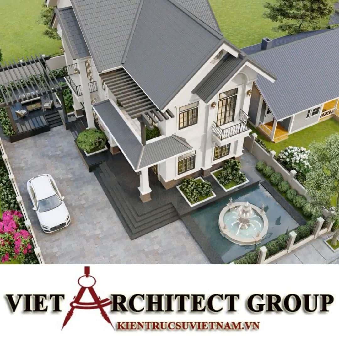 10 1 - Công trình thiết kế biệt thự 2 tầng kiến trúc tân cổ điển mái thái đẹp Nhơn Trạch - Đồng Nai