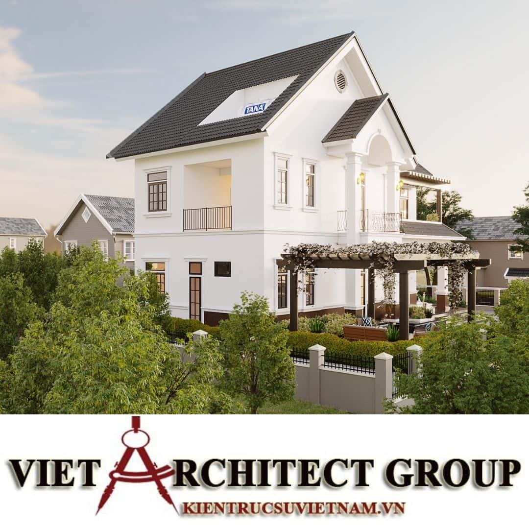 10 - Công trình thiết kế biệt thự 2 tầng kiến trúc tân cổ điển mái thái đẹp Nhơn Trạch - Đồng Nai
