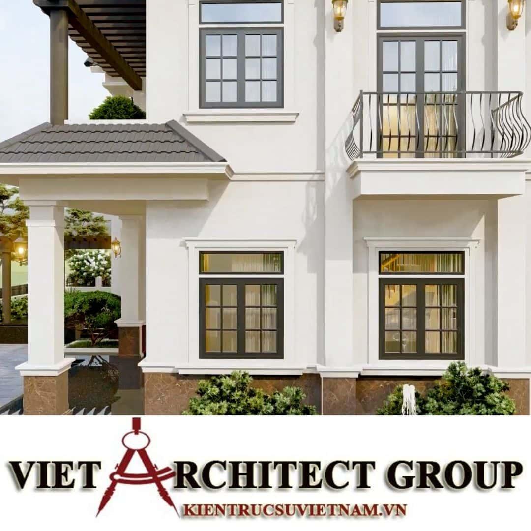 11 1 - Công trình thiết kế biệt thự 2 tầng kiến trúc tân cổ điển mái thái đẹp Nhơn Trạch - Đồng Nai