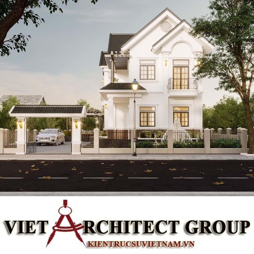 11 - Công trình thiết kế biệt thự 2 tầng kiến trúc tân cổ điển mái thái đẹp Nhơn Trạch - Đồng Nai
