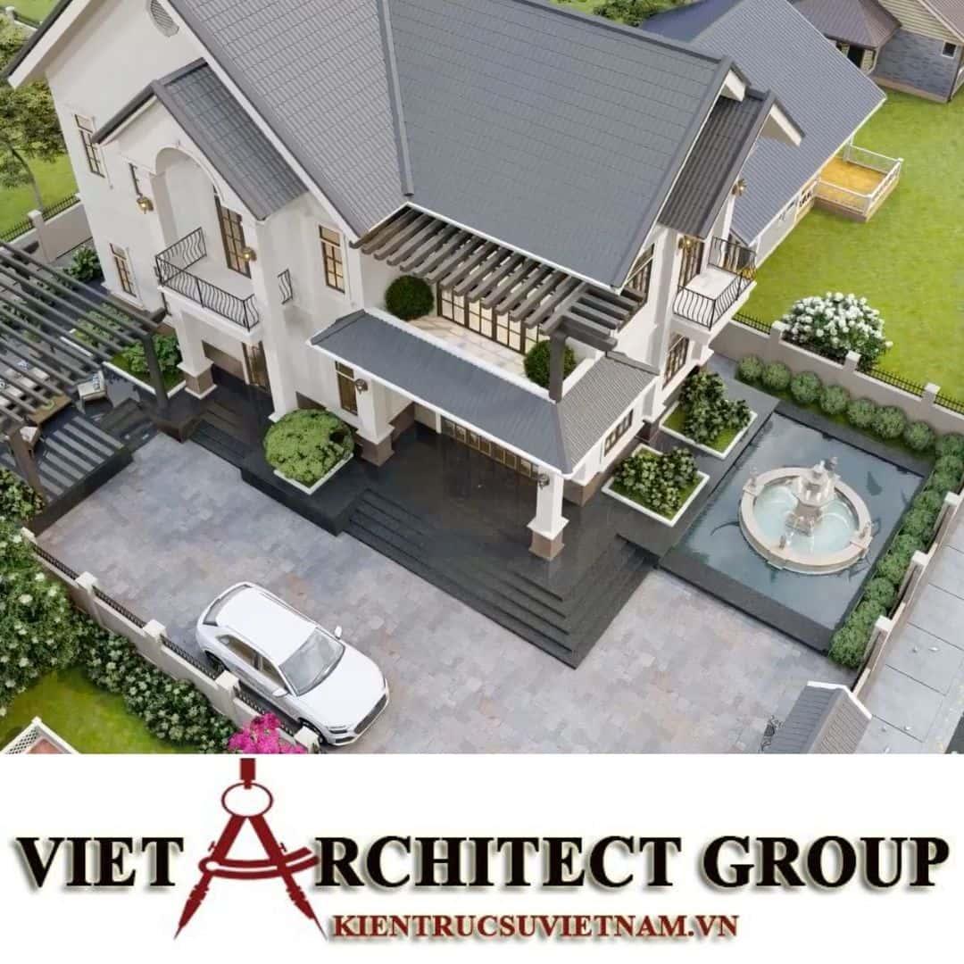 12 1 - Công trình thiết kế biệt thự 2 tầng kiến trúc tân cổ điển mái thái đẹp Nhơn Trạch - Đồng Nai