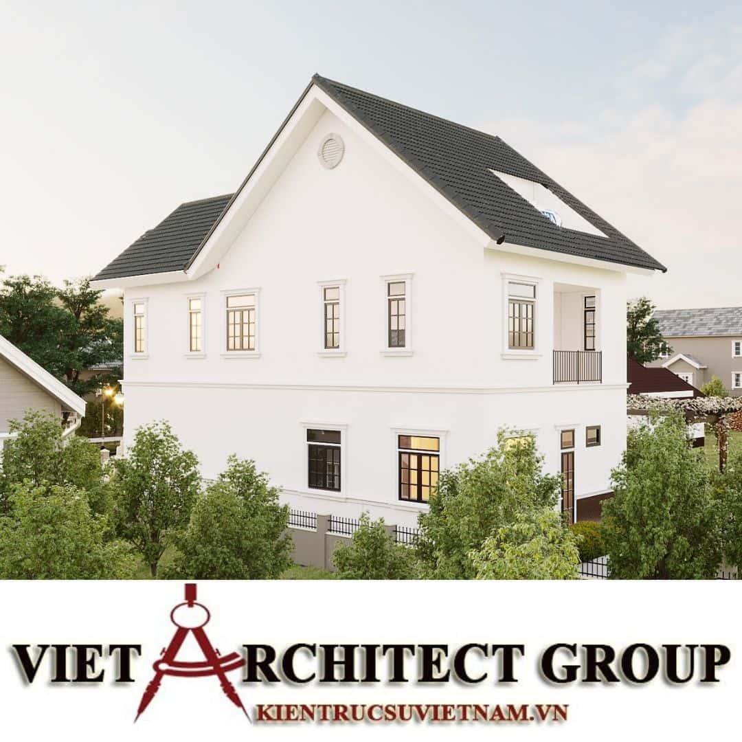 12 - Công trình thiết kế biệt thự 2 tầng kiến trúc tân cổ điển mái thái đẹp Nhơn Trạch - Đồng Nai