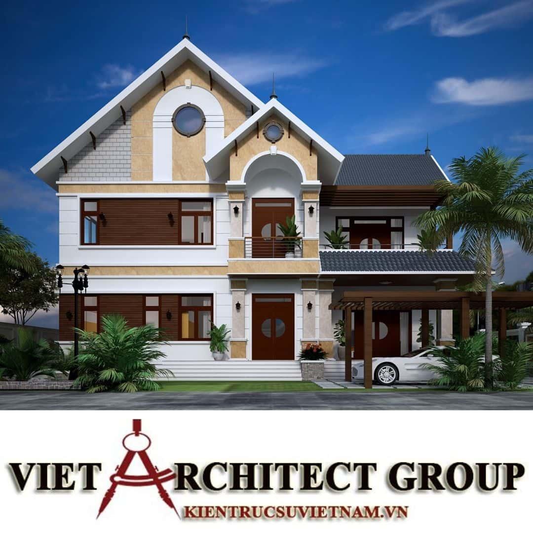 2 1 - Công trình thiết kế biệt thự 2 tầng mái thái lô góc đẹp mr Thái Nhơn Trạch