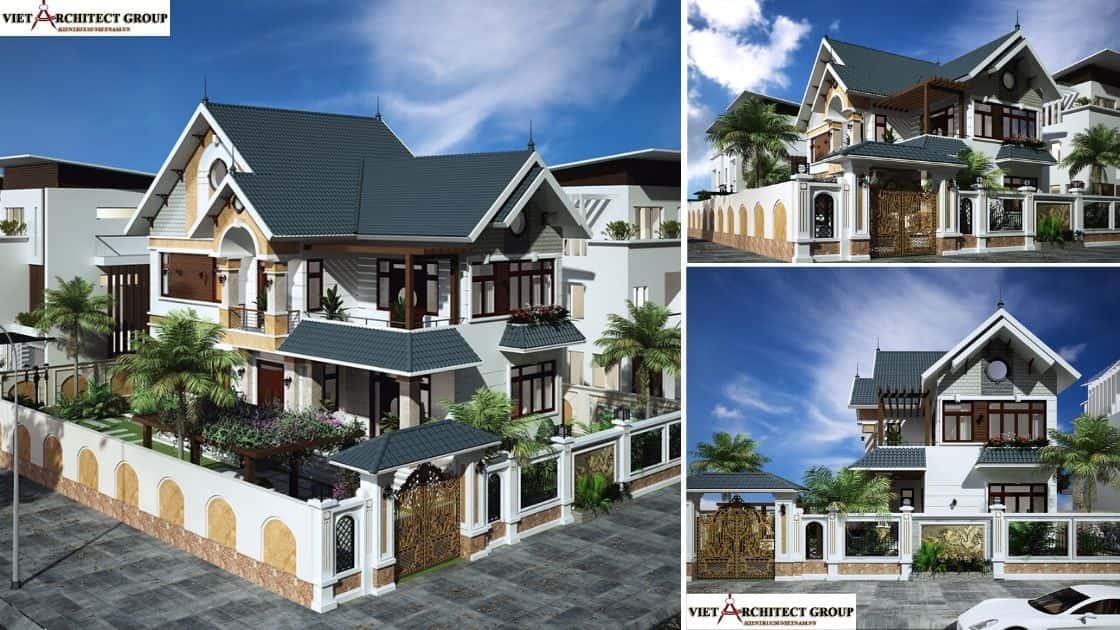 2 - Thiết kế biệt thự 2 tầng mái thái đẹp và chuyên nghiệp
