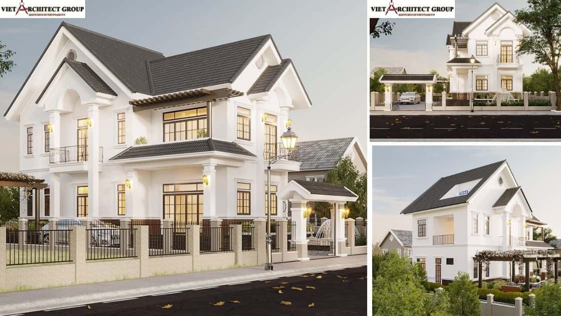 3 - Công trình thiết kế biệt thự 2 tầng kiến trúc tân cổ điển mái thái đẹp Nhơn Trạch - Đồng Nai