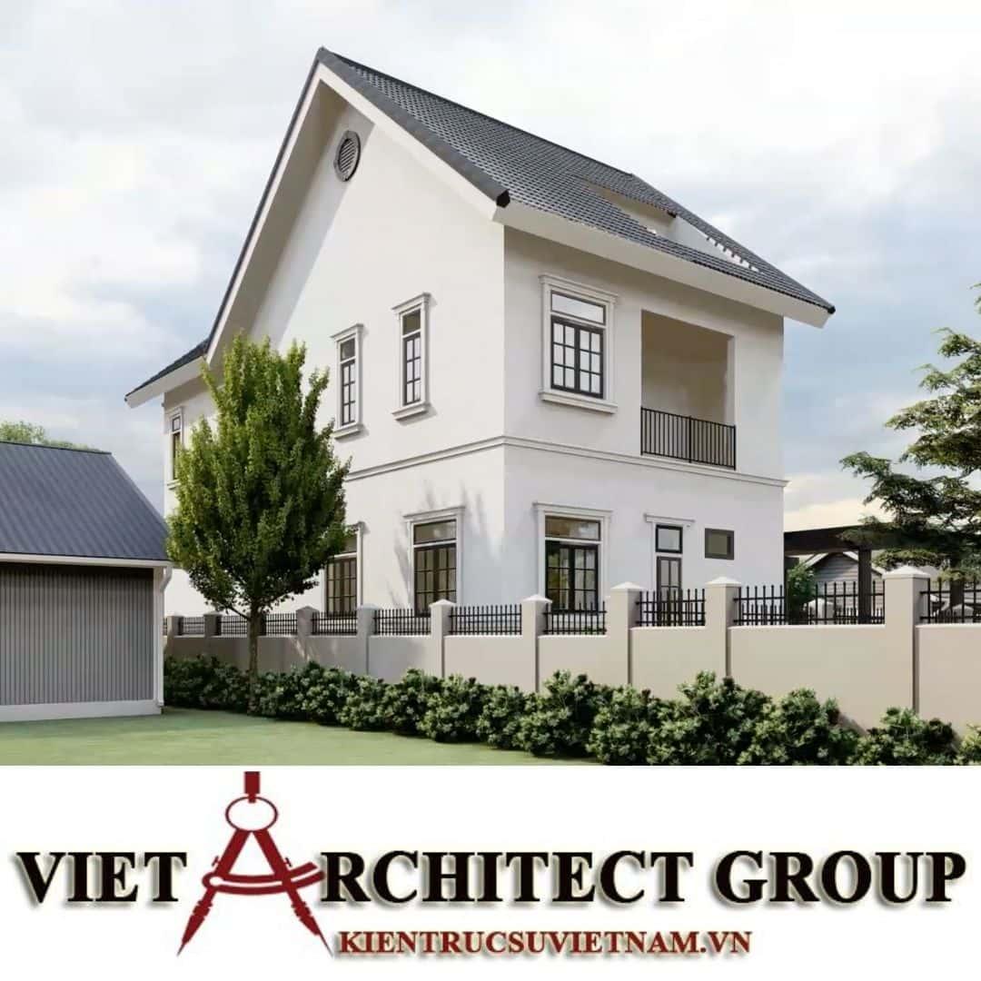 5 2 - Công trình thiết kế biệt thự 2 tầng kiến trúc tân cổ điển mái thái đẹp Nhơn Trạch - Đồng Nai