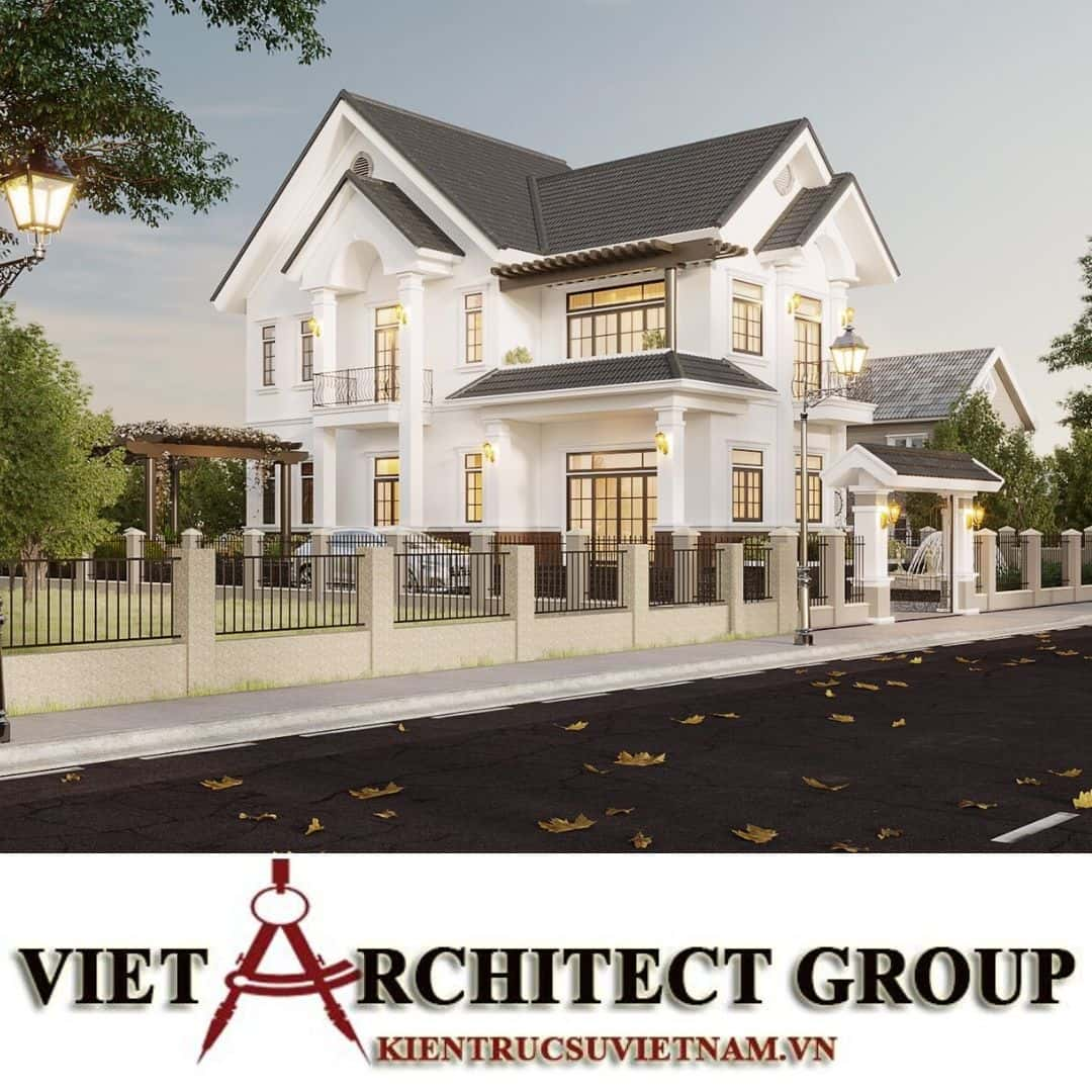 9 - Công trình thiết kế biệt thự 2 tầng kiến trúc tân cổ điển mái thái đẹp Nhơn Trạch - Đồng Nai