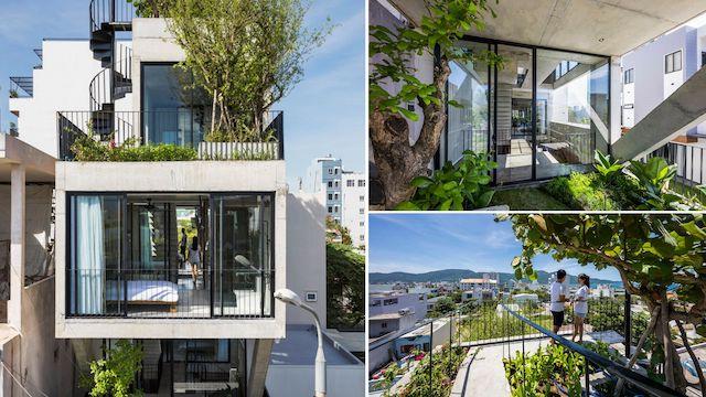 biet thu pho dep - The Concrete House 01 / Ho Khue Architects: Ngôi nhà 4 tầng với diện tích lô 5m x 16m