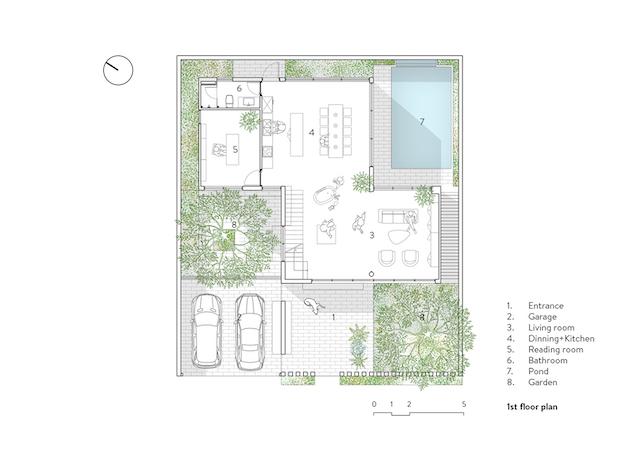 thiet ke nha dep NBH 02 graphic E 1st fl - Stepping Green House / HGAA: không gian sống đô thị gần gũi với thiên nhiên
