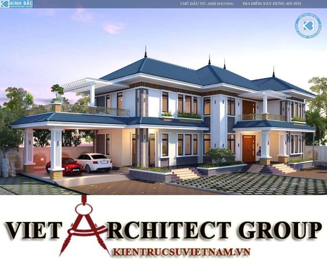 5 - Công trình biệt thự 2 tầng mái thái sang trọng đẳng cấp của gia đình anh Phương - Hà Nội
