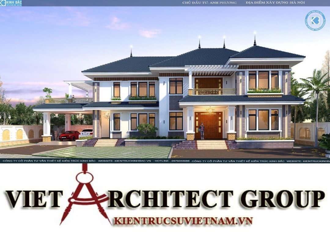 6 - Công trình biệt thự 2 tầng mái thái sang trọng đẳng cấp của gia đình anh Phương - Hà Nội