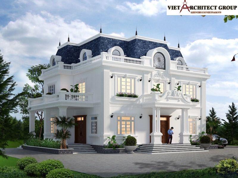 thiet ke biet thu tan co dien hai phong 1 - Công trình thiết kế thi công biệt thự tân cổ điển anh Cường - Hải Phòng