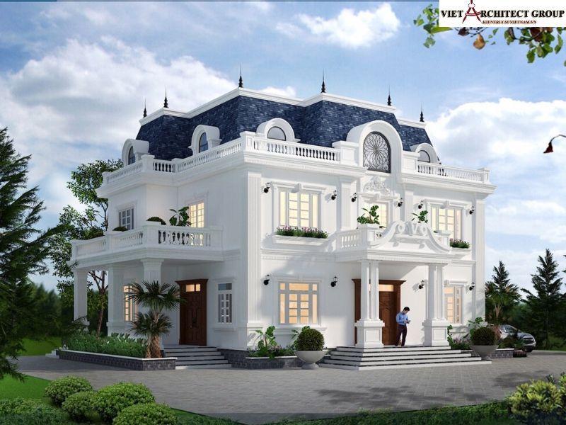 thiet ke biet thu tan co dien hai phong 4 - Công trình thiết kế thi công biệt thự tân cổ điển anh Cường - Hải Phòng