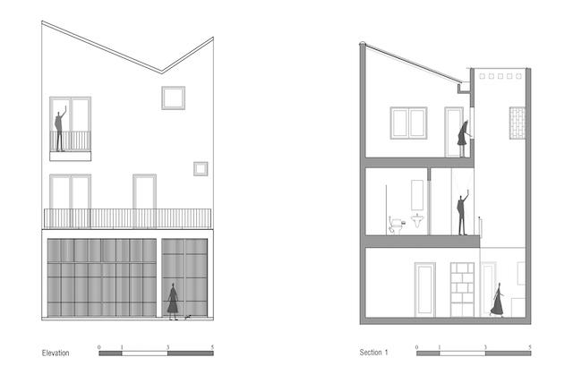 thiet ke nha dep Elevation and Section 1 - Ngôi nhà phố nhỏ hẹp giải quyết triệt để vấn đề giải quyết các vấn đề thông gió, ánh sáng tự nhiên