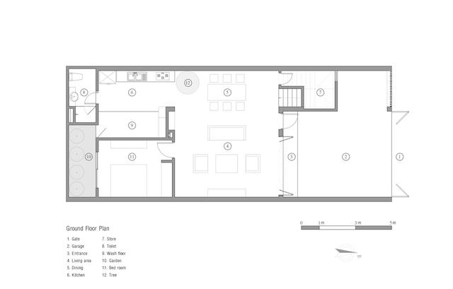 thiet ke nha dep Ground floor Plan - Ngôi nhà phố nhỏ hẹp giải quyết triệt để vấn đề giải quyết các vấn đề thông gió, ánh sáng tự nhiên