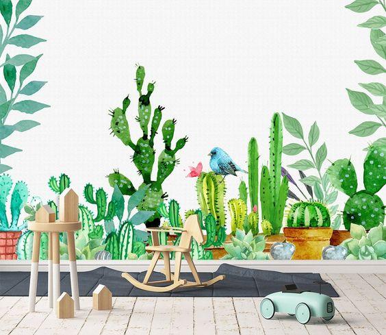 tranh tuong 3d dep - Vẽ tranh tường phong cảnh thiên nhiên, cây cối hoa lá